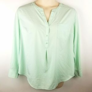 Pure Energy Mint Green Blue Chiffon Blouse Top